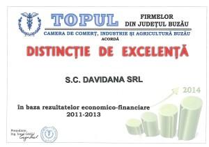 Diploma de excelenta Camera de Comert anul 2014